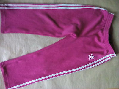 Adidas girls pink with white stripe hooded zipped tracksuit size 3-4 yrs old