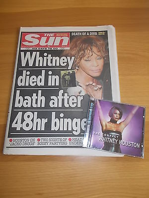 WHITNEY HOUSTON. SUN NEWSPAPER & CD ( Twin Package )