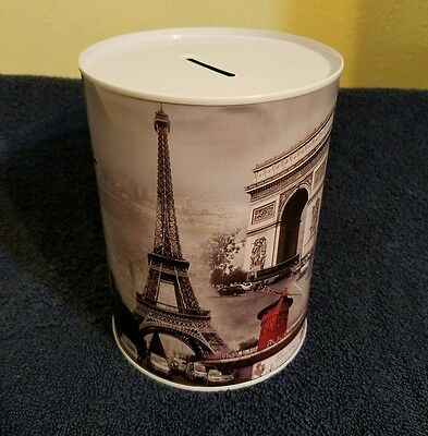 LARGE PARIS METAL CAN MONEY COIN BANK **Cute ~ Great Gift **