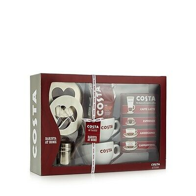 Costa Complete Barista Set With Cups, Coffee, Stencil, Sprinkler