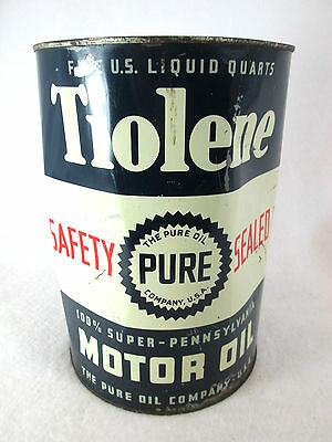 Vintage Pure Tiolene empty 5 qt. metal motor oil can