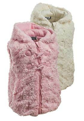 NEW Minoti Toddler Girls Pink Cream Curly Faux Fur Hooded Gilet Body Warmer
