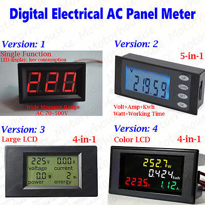Digital LCD AC Voltmeter LED Panel Voltmeter Volt Amp Watt Power Combo Monitor
