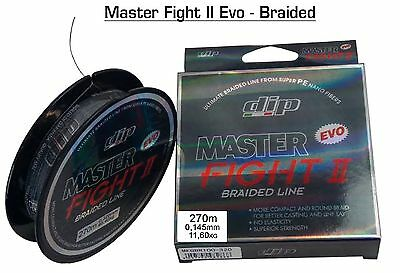 "MULTIFIBRA MASTER FIGHT II EVO BRAIDED LINE 270m 0,145mm 11,6kg ""DIP"" PESCA -D2"