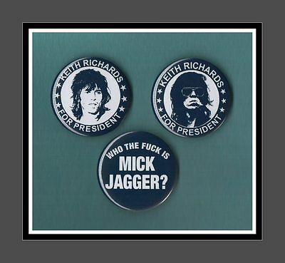 Keith Richards Retro Button 56mm Large Badges 3 designs  Freepost Rolling Stones