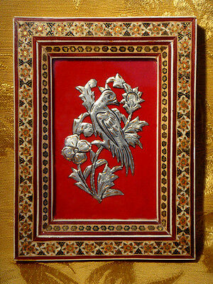 "VINTAGE PERSIAN BIRD on COPPER PICTURE in KHATAM INLAID FRAME 7"" x 5 1/4"""