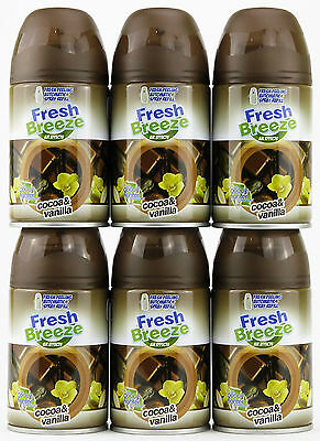 6x FRESH BREEZE LUFTERFRISCHER FÜR AIRWICK FRESH MATIC -KAKAO&VANILLE- 250ML