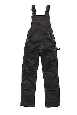 Dickies Industry 300 Two Tone Work Bib And Brace Dungaree BLACK W40R