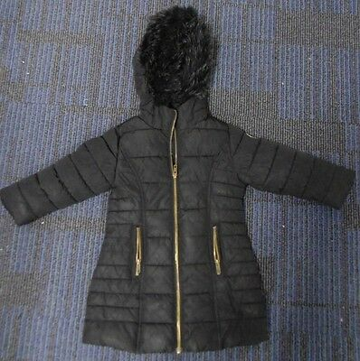 Next - I Heart Next Childrens Girls Padded Luxury Black Fur Hood Coat 3 Years