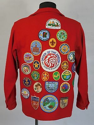 Official Red Boy Scouts of America Jacket 26 Patches Size 42 BSA Wool 70s 80s