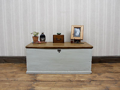 Rustic Painted Sea Chest, Old Pine Storage Box, Nautical Coffee Table Chest