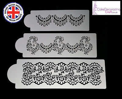 Stencils Cake Cupcake Decorating Craft Airbrush Buttercream| Alencon x 3