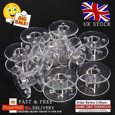 20 X Transparent Bobines - Machine À Coudre Maison Plastique Bobine UK UNIVERSEL