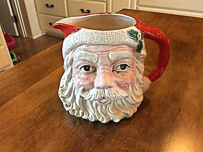 Large Fitz & Floyd Two Quart Christmas Santa Head Pitcher/Centerpiece