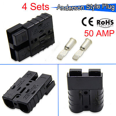 ANDER SON PLUGS W/CONTACTS, 6 GAUGE, SB50A 600V,  Connector Kit Black 4 pairs