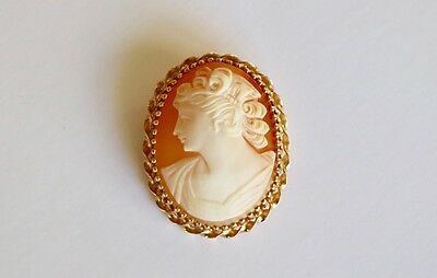 14k Yellow Gold Cameo Pin/Brooch/Pendant set with Twisted Ribbon Setting