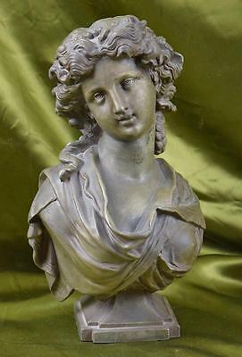 Beautiful Antique French Architectural Spelter Bust, Neoclassical Lady, 19th C