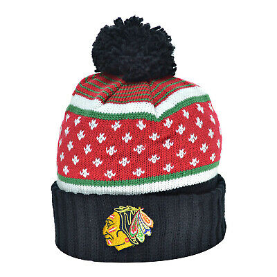 Mitchell & Ness Chicago Blackhawks Men's Knit Pom Beanie Hat Cap Black/Red/White