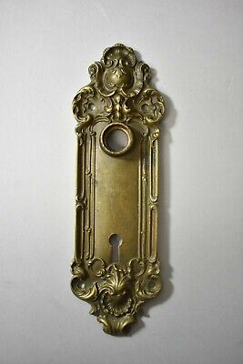 Antique Victorian Cast Brass Door Backplate Yale & Towne # 870/ 862 Shell Detail