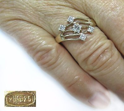 Magical Ring SILVER 925 trident stamp SIZE 9 gold plated Ukraine USSR 2,47g