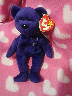 AN ULTRA COLLECTABLE PRINCESS DIANA TY 1st EDITION, NOSPACE  PURPLE BEANIE  BABY