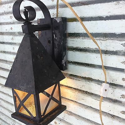 Vintage Aluminum Metal Arts & Craft Mission Style Outdoor Porch Wall Sconce