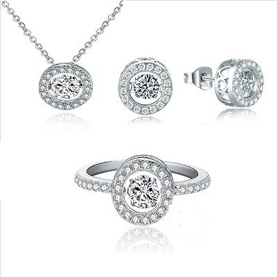 4.00 Carats Dancing Diamond Ring, Pendant and Earring (3 piece set)