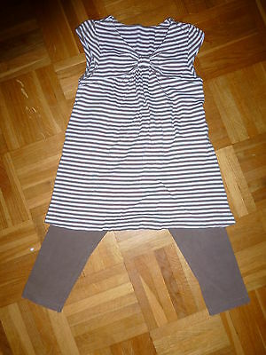 NEXT 2-3yrs legging and matching top set brown with white stripe top