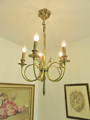 Superb Vintage French Trumpet Chandelier Light Quality Bronze Cors De Chasse