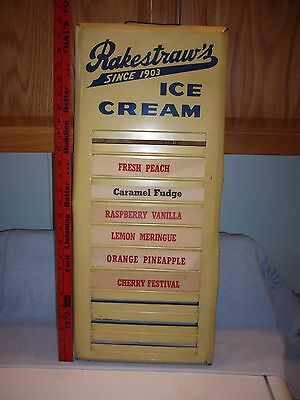 "Vintage Rakestraw""s   Ice Cream Tin   Flavor Strip Menu  Sign Mechanicsburg PA"