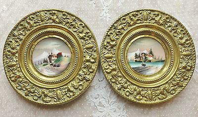 Superb Pair Antique French Decorative Plates Wall Hangings 1890 Repousse Brass