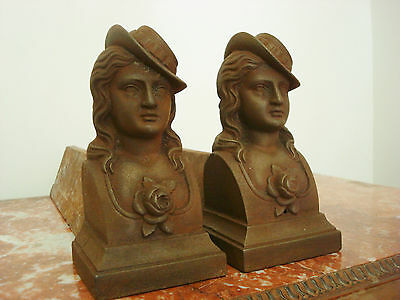 Lovely Pair Vintage French Figural Fire Dogs Andirons Femme Francaise Rose Motif