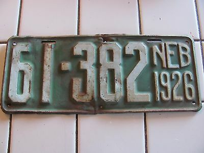 antique NEBRASKA License Plate 1926 Sheridan County