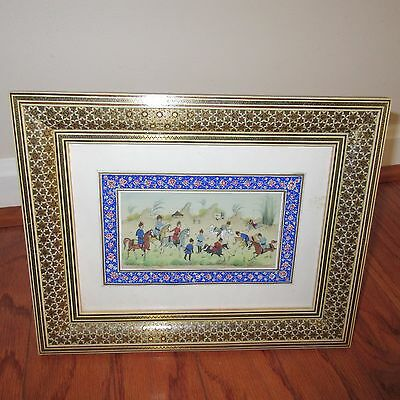 Persian Inlaid Marquetry Wood Frame with Picture