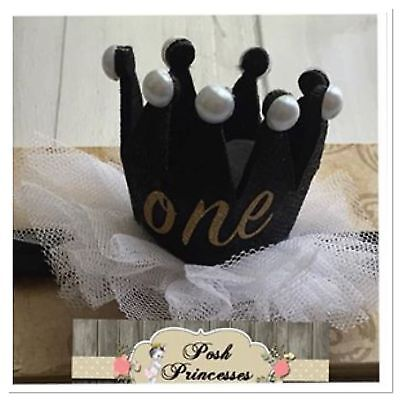 1st Birthday Number Headband ONE Sparkle Gold Glitter Princess Tiara Crown Tulle