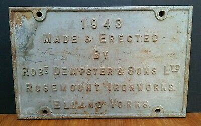 Vintage Industrial Gas Works Cast Iron Sign 1943 Dempster Elland Leeds Gasometer