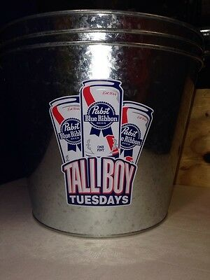 3 Piece Set Pabst Blue Ribbon Tall Boy Tuesdays Metal Beer Ice Bucket PBR pint