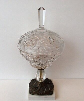 Cut Glass Compote Vintage Candy Dish W/Lid Marble & Brass Bass Victorian Style