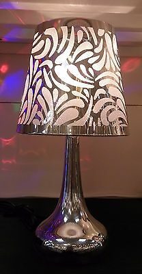 Silver Chrome Swirl Touch Pad Table Bedside Light Lamp