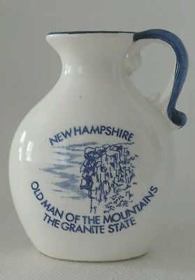 New Hampshire Old Man Souvenir Left Handed Pitcher Blue White Pottery