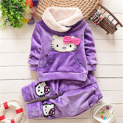 NEW!Girl HELLO KITTY warm 2 pcs clothing set outfit 2-3 years PURPLE (UK)