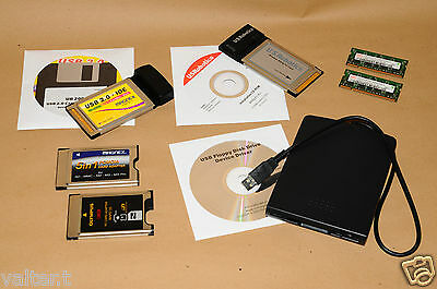 FLOPPY ESTERNO USB + VARIE SCHEDE PC CARD + RAM (lotto materiale informatico)