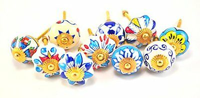set of 10 blue & white floral ceramic cupboard cabinet knobs drawer pulls...