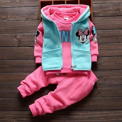 NEW!Girl warm autumn winter 3 pcs clothing set outfit (top+vest+pants) 2-3 years