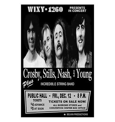 Crosby Stills Nash And Young 1969 Cleveland Concert Poster