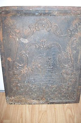 Late 1800s Cast Iron Fireplace Cover Mother w/ Child & Statue Stamped 550