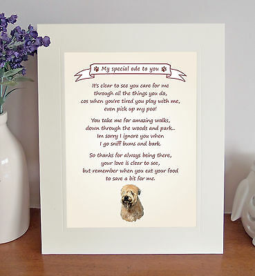 """Soft Coated Wheaten 10"""" x 8"""" 'Thank You' Poem Fun Novelty Gift FROM THE DOG"""