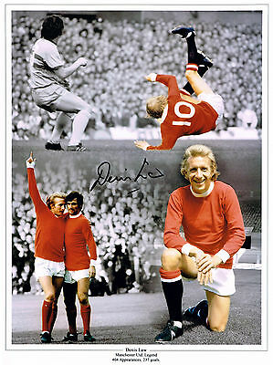 DENIS LAW MANCHESTER UNITED HAND SIGNED PHOTO AUTHENTIC GENUINE + COA - 16x12