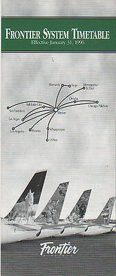 Frontier Airlines - System Timetable - 31 Jan 1996