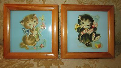 Vintage 1940's Decal ART TILES Sweet KITTENS CATS~Baby Nursery Decor